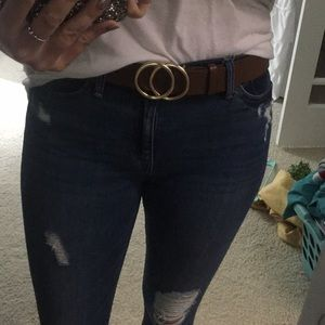 Accessories - Brown belt with gold circles.